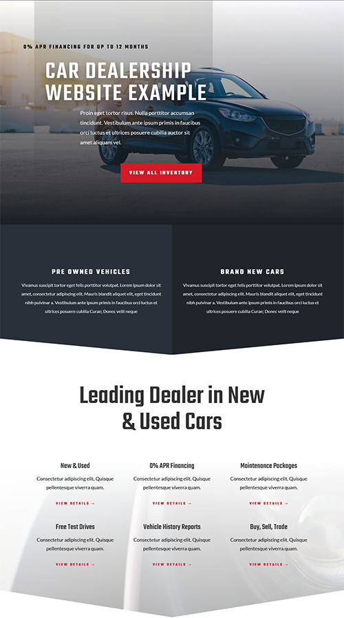 Car dealership website example